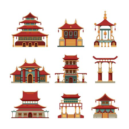 China traditional buildings. Cultural japan objects gate pagoda palace vector cartoon collection of buildings. Building palace, pagoda and traditional temple illustration Vectores