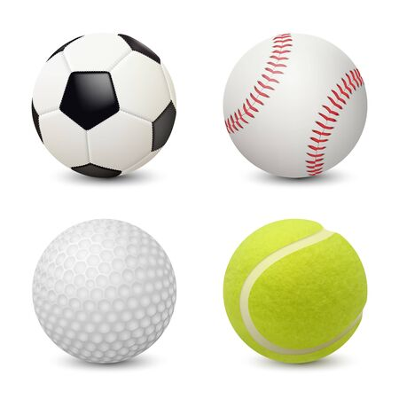 Palloni sportivi. Baseball calcio tennis golf attrezzature sportive realistiche di vettore. Illustrazione di pallina da golf e calcio, tennis e calcio
