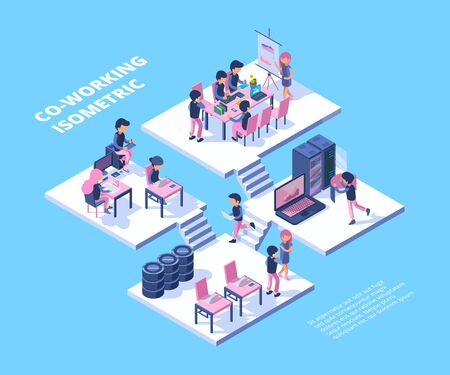 Coworking isometric. Business team freelancer professionals group meeting people working talking together vector coworking concept. Illustration business team workspace, conversation and brainstorm Banque d'images - 129116741