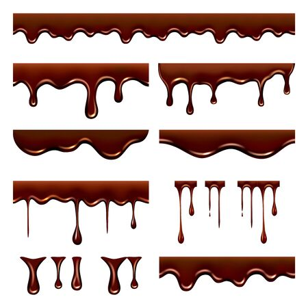 Chocolate dripped. Sweet flowing liquid food with splashes and drops caramel cacao vector realistic pictures. Brown liquid dessert, sweet drip melt