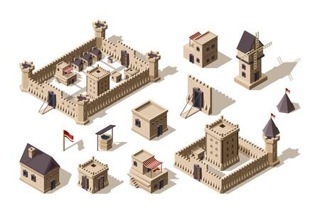Medieval buildings. Ancient architectural objects village and castles vector isometric for games. Illustration medieval town and city building, wall and fortress Foto de archivo - 129116749