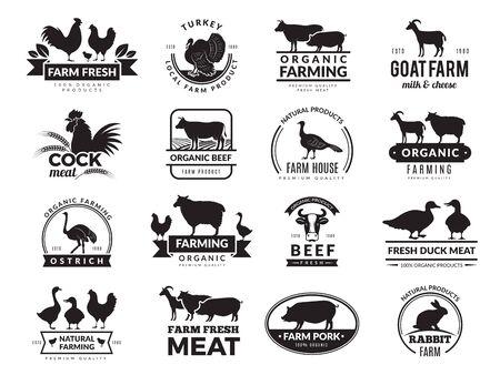 Animales de granja. Logotipo de empresa con animales domésticos, vaca, pollo, cabra, comida sana, símbolos, vector, granja, colección. Ilustración de silueta de vaca, pollo y carne de oveja