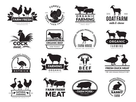 Farm animals. Business logo with domestic animals cow chicken goat healthy food symbols vector farm collection. Cow silhouette, chicken and sheep meat illustration  イラスト・ベクター素材