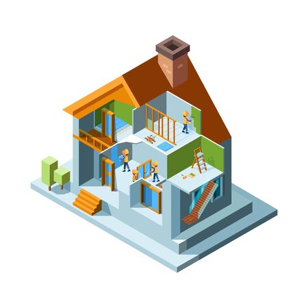 House renovation. Repair rooms walls floor in residential buildings home workers with equipment installing construct vector isometric. Renovation building, repair house interior illustration