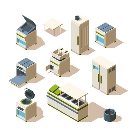 Industrial restaurant equipment. Kitchen tools for cooking steel stove refrigerator oven racking vector isometric. Equipment manufacture isometric, 3d oven stove, industrial kitchenware illustration