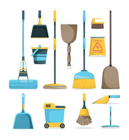 Broom and mops. Hygiene room housework supply household equipment for cleaning handle brooms vector cartoon pictures. Illustration broom and scoop, stick brush, housecleaning Ilustração