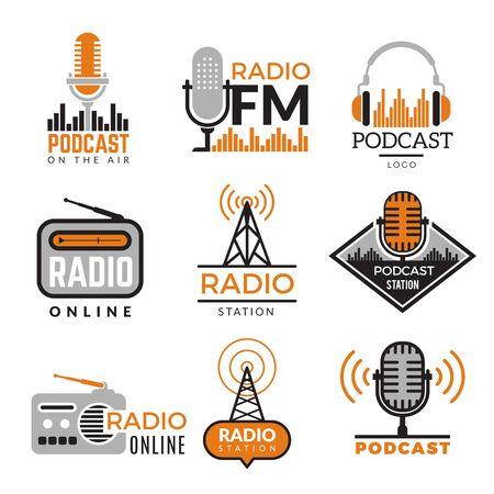 Logo radia. Podcast wieże bezprzewodowe odznaki symbole stacji radiowej wektor zbiory. Ilustracja godła bezprzewodowej stacji radiowej