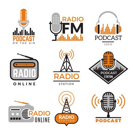Radio logo. Podcast towers wireless badges radio station symbols vector collection. Illustration wireless radio station emblem Vettoriali
