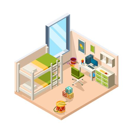 Kids room. Interior for childrens with desk sofa and toys teenage decoration furniture vector isometric architectural object. Interior illustration room, furniture desk and bed indoor Stock Illustratie