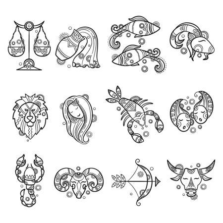 Caractères du zodiaque. Astrologie horoscope signe tatouages lion bélier poisson cancer graphiques vectoriels. Illustration sagittaire et bélier, taureau et lion, verseau et cancer