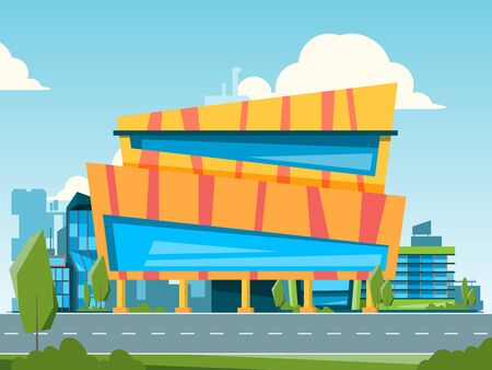 Mall. City landscape with hypermarket and store buildings houses vector flat illustration. Building shop, city supermarket and hypermarket
