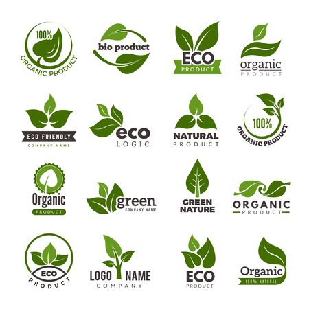 Leaf logo. Bio nature green eco vector symbols business logo template. Illustration of bio eco green, nature logo environment Ilustração