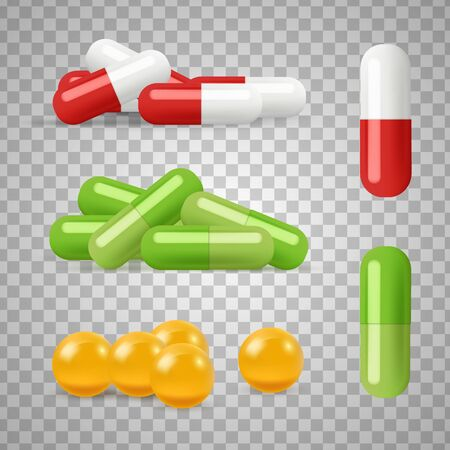 Realistic pills vector. Drugs, medications isolated on transparent background. Illustration antibiotic and medical tablet