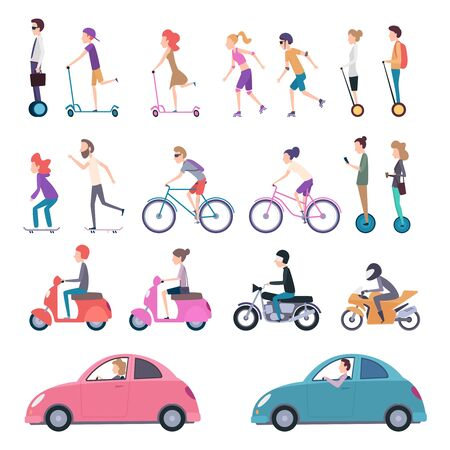 Urban transport. People riding city vehicle bicycle driving electrical scooter skate vector cartoon illustration. Bicycle and vehicle, ride urban drive, city transportation Banque d'images - 129116869