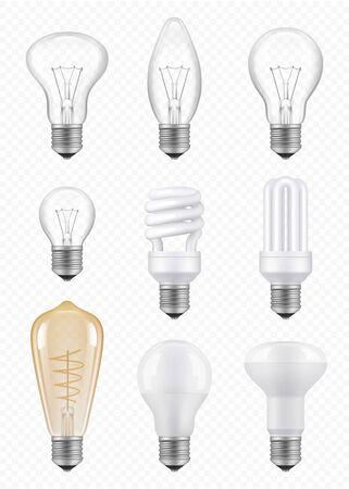 Light bulbs. Transparent halogen economical innovation bulbs vector realistic pictures. Light bulb, halogen lamp power illustration Vecteurs