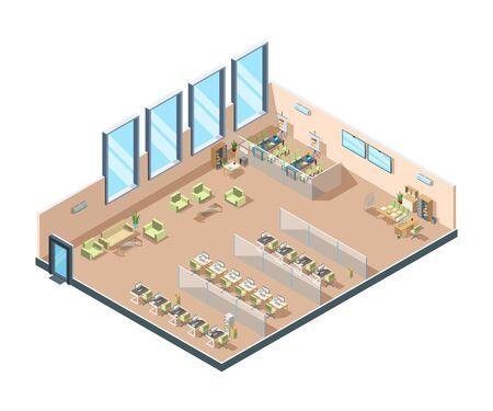 Ufficio isometrico. Grande area di lavoro aperta aziendale che costruisce armadi interni con tavoli, sedie e attrezzature per il vettore dei manager. Posto di lavoro dell'ufficio commerciale, area di architettura dell'illustrazione
