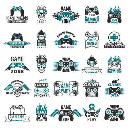 Video game labels. Gaming console cybersport joystick controller symbols of entertainment club vector collection. Illustration badge videogame zone and party, label vintage console gamepad