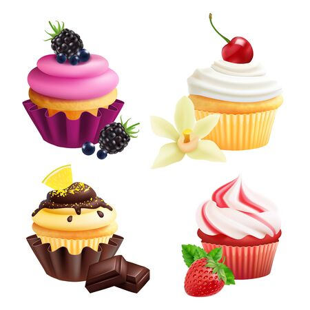 Cupcakes collection. Realistic muffins with cream, fruits, vanilla, chocolate. Vector cupcakes isolated on white background. Illustration cupcake with blackberry, bakery confectionery creamy Ilustrace