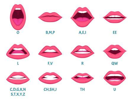 Animación de boca femenina. Los labios atractivos hablan la pronunciación de los sonidos de las letras inglesas marcos de animación plantilla vectorial Expresión de animación, charla facial e ilustración de habla inglesa
