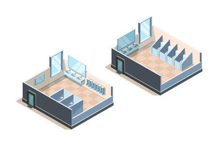 Toilette publique. Toilettes isométriques pour hommes et femmes illustrations vectorielles d'évier moderne. Toilettes publiques, salle de bain et toilettes wc intérieur