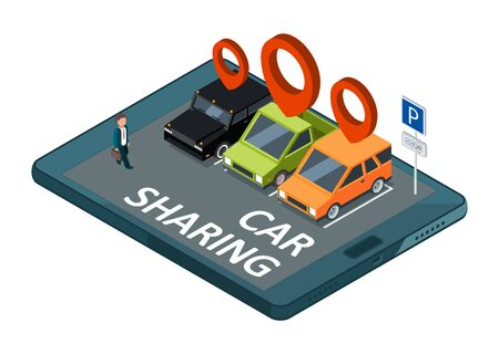 Isometric car sharing vector concept. Mobile app parking with cars and businessman illustration. Carpool and sharing car isometric