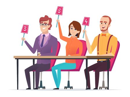 Jury with marks. Judged with scorecards smart entertainment television competition characters vector sitting jury. Jury score group, committee with scorecard illustration Illustration
