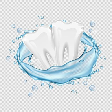 Realistic teeth. Vector clean white teeth and water splash isolated on transparent background. Illustration tooth mouthwash, 3d freshness splash dental