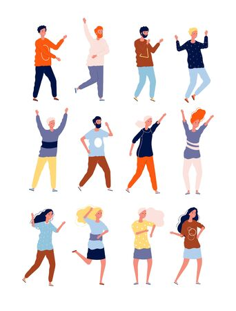 Happy dancers. Party happy people night club crowd dancers stylized characters vector collection. Illustration dancer party club, people disco festival Ilustrace