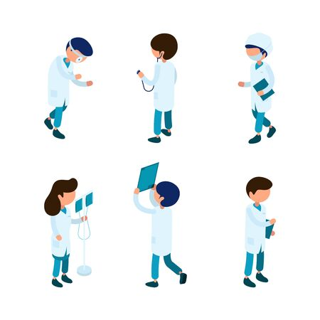 Doctors isometric. Medical staff paramedic surgeon ambulance person hospital characters 3d vector isometric collection. Medic professional doctor, clinic staff illustration Illustration