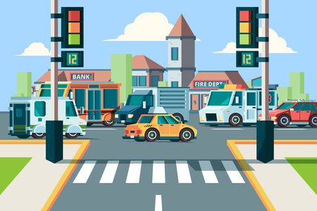 City road traffic. Urban landscape intersection with city cars in street crosswalk with lights vector flat background. Road intersection traffic jamm city crosswalk street illustration