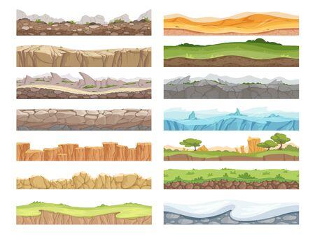Game seamless ground. Cartoon rock dirt landscape stone ground asset 2d floor vector background. Game seamless soil and grass, snow surface illustration Illusztráció