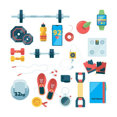 Sport objects top view. Fitness training equipment running shoe steel dumbbells healthy concept sport drinks vector. Fitness equipment and training, health sport illustration Ilustrace