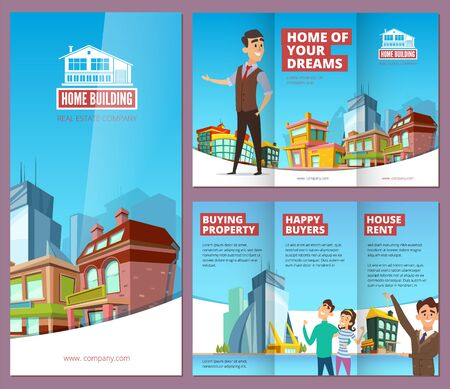 Real estate brochure. Printing banners with happy property buyers big buildings and house rent service company vector leaflet design. Illustration brochure home estate, house building