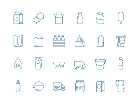 Milk icons. Bottle jars plastic containers with farm products cheeses yoghurt ice cream dairy vector milk symbols. Illustration farm milk and bottle dairy cream and yogurt Ilustração