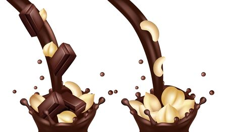 Vector realistic chocolate flows with nuts and bars. Illustration sweet realistic chocolate flow cream, dessert snack