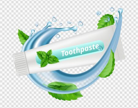 Mint toothpaste. Water splash, mint leaves, toothpaste tube isolated on transparent background. Dental vectot illustration. Mint health toothpaste, 3d ad freshness and flavor Иллюстрация