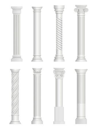 Antique pillars. Baroque column for facade roman architectural style vector realistic collection. Architecture construction, greek antique pillar for building illustration