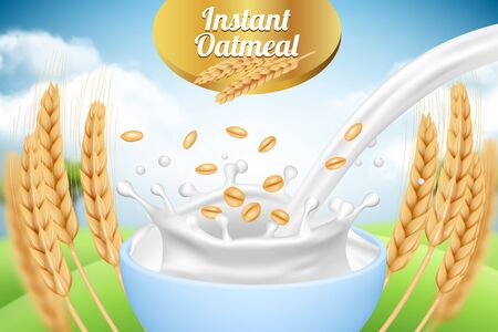 Oatmeal. Ad placard template with milk and wheat healthy organic food farm products packaging background template realistic. Oatmeal and milk, advertisement organic cereal illustration