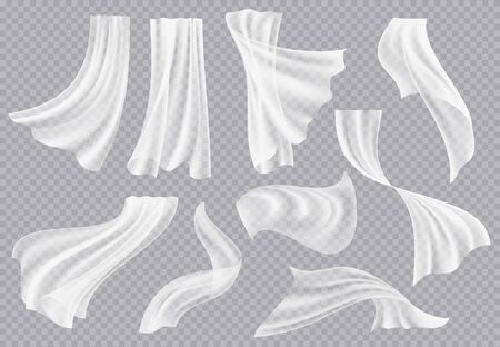 Window curtains. Flowing blank fabric with folds interior clothing soft silk fluttering decoration material vector realistic template. Soft textile fabric, interior of silk smooth illustration Ilustração