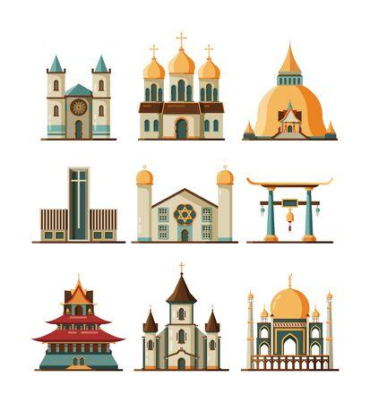 Iglesia tradicional. Religión cristiana y luterana edificios musulmanes mezquita islámica vector imágenes planas. Catedral católica, ilustración de la iglesia religiosa cristiana y musulmana Ilustración de vector