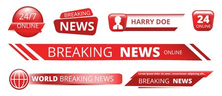 Breaking news banners. Television broadcast header vector isolated on white background. Illustration tv breaking news, broadcast banner information