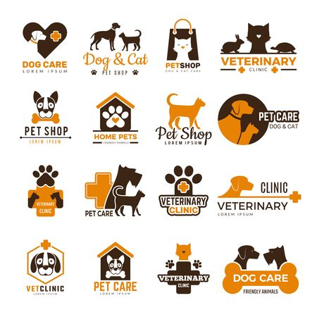 Vet clinic logo. Pets shop cats dogs domestic animals protection friendly funny symbols vector collection. Illustration vector  kitty, domestic animal shop, dog and cat care
