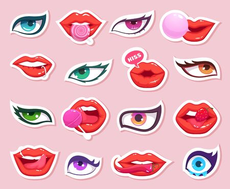 Fashion stickers. Sexy woman lips with candy and eyes comics smiling mouth makeup retro vector stickers. Illustration woman sexy mouth and eyes