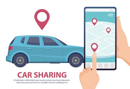 Car sharing. Rent car online mobile app web page concept. Vector find vehicle on map illustration. Blue automobile, smartphone, hands. Rent or share transport service, online app taxi navigation