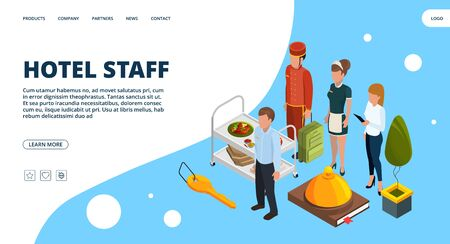 Hotel staff landing page. Vector isometric hospitality concept. Illustration hotel service, staff maid isometric 写真素材 - 130034060
