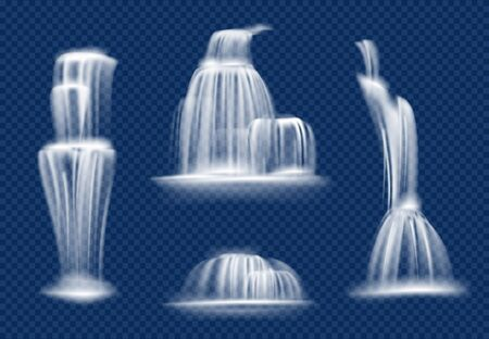 Waterfall. Water cascade flowing with splashes and drops fast transparent natural vector realistic waterfall. Illustration waterfall aqua stream, splash liquid