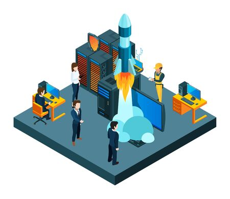 Successful business startup. Isometric vector young team, data protection, startup rocket vector concept. Illustration isometric rocket startup, team start launch