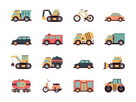 Transporte icono plano. Símbolos de transporte diferentes automóviles vehículos públicos máquinas vectoriales colección de iconos de colores. Ilustración automóvil y máquina, motor y bicicleta, tren y excavadora Ilustración de vector