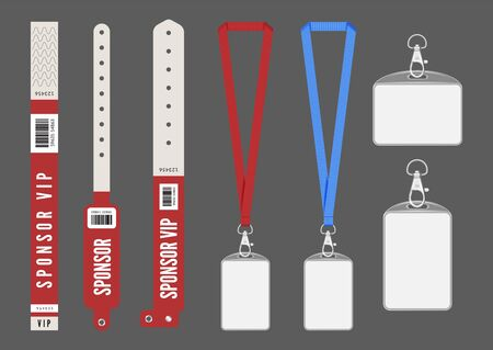 Badge mockup. Red cards lanyard bracelets for ID. Vector entrance keys for events. Identity card authentication, organization backstage to conference pass illustration Reklamní fotografie - 130034830