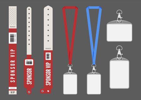 Maquette d'insigne. Bracelets de lanière de cartes rouges pour l'identification. Clés d'entrée vectorielles pour les événements. Authentification par carte d'identité, organisation dans les coulisses de l'illustration du laissez-passer de conférence